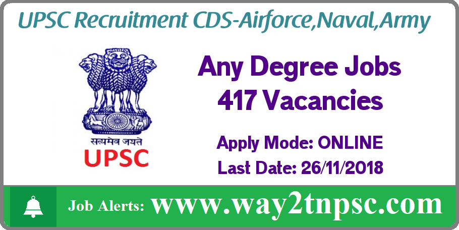 UPSC Recruitment 2018 for 417 CDS I - Airforce, Naval, Army Posts