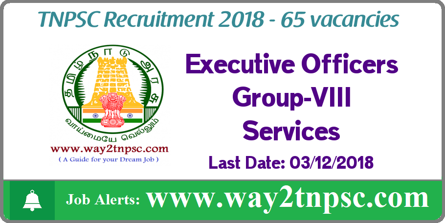 TNPSC Recruitment 2018 for 65 Executive Officer Grade -IV Posts - Group-VIII Services