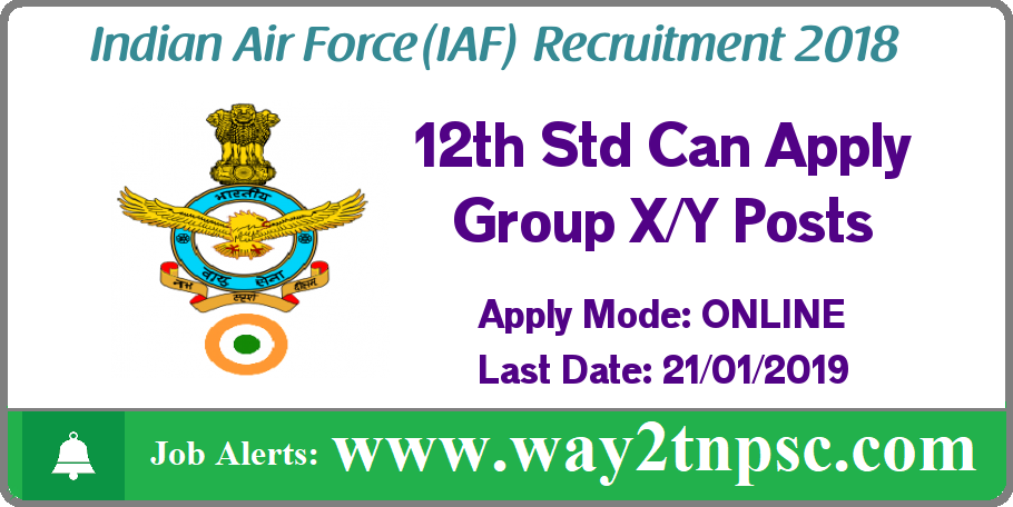 Indian Air Force Recruitment 2018 Airmen Group X and Y Posts