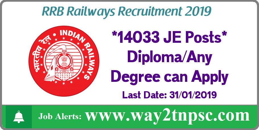 RRB Recruitment 2019 for 13487 JE Posts