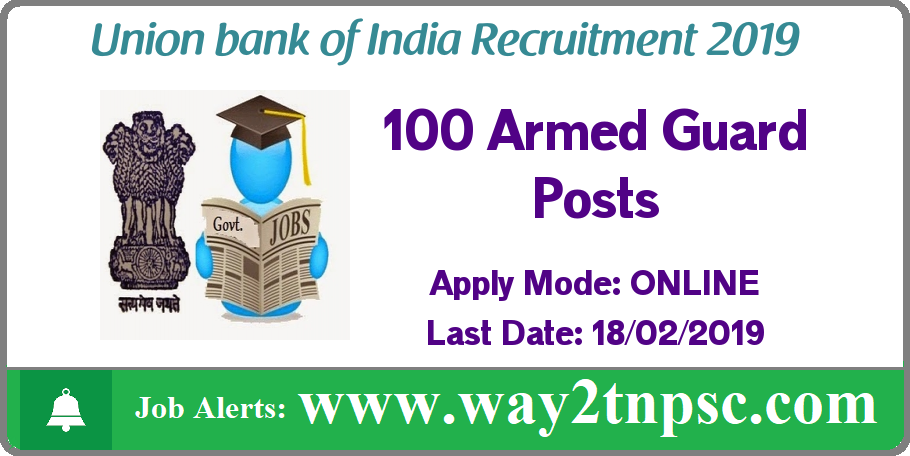 Union Bank of India Recruitment 2019 for 100 Armed Guard Posts