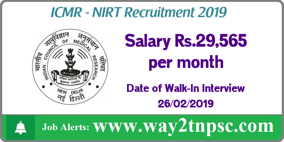 NIRT Recruitment 2019 for Project Technical Assistant (Laboratory) Posts