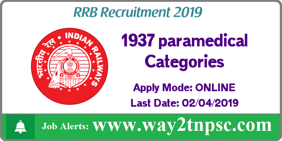 RRB Recruitment 2019 for 1937 paramedical Categories