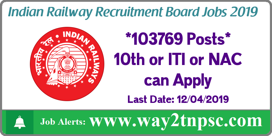 RRB Railways Recruitment 2019 for 103769 Group D Posts