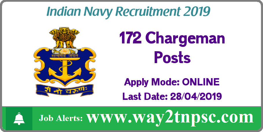 Indian Navy Recruitment 2019 for 172 Chargeman Posts