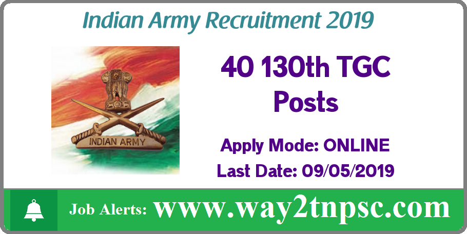 Indian Army Recruitment 2019 for 40 130th TGC Posts