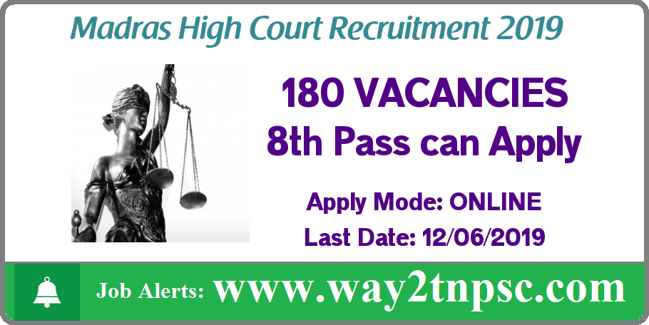 Madras High Court Recruitment 2019 for 180 Residential Assistant Posts