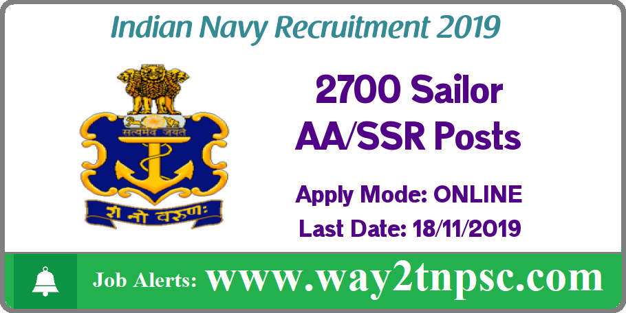 Indian Navy Recruitment 2019 for 2700 Sailor AA and SSR Posts