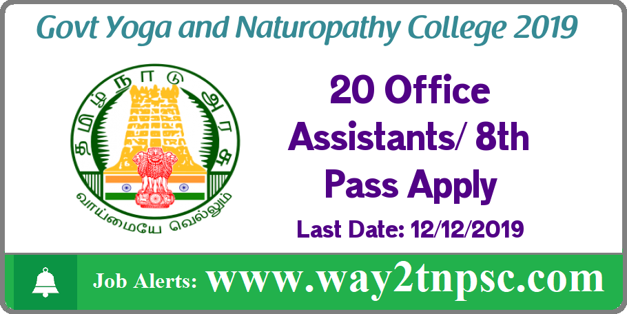 Govt Yoga and Naturopathy College Arumbakkam Recruitment 2019 for 20 Office Assistant Posts