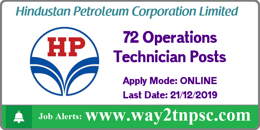 HPCL Recruitment 2019 for 72 Operations Technician Posts