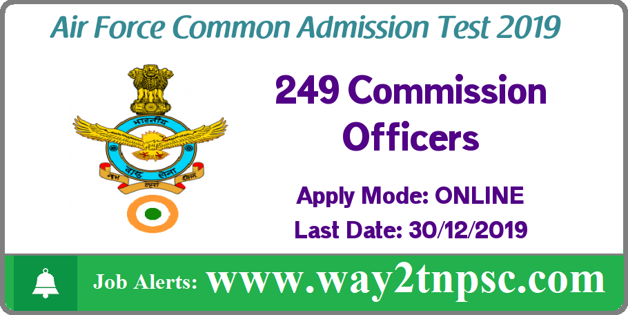 AFCAT Recruitment 2019 for 249 Commissioned Officers Posts