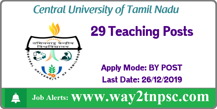 CUTN Recruitment 2019 for 29 Teaching Posts