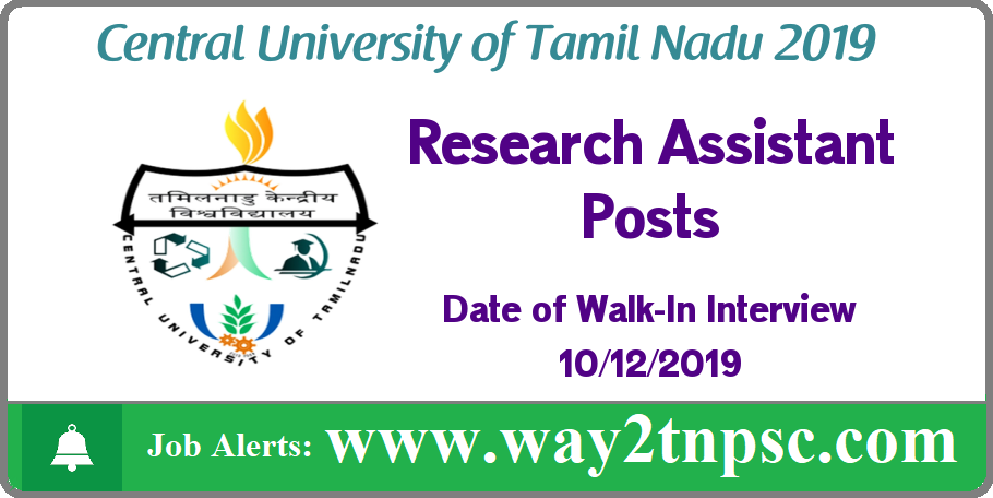 CUTN Recruitment 2019 for Research Assistant Posts