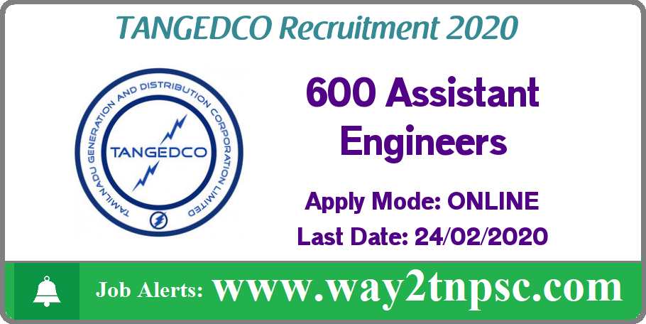 TANGEDCO Recruitment 2020 for 600 Assistant Engineer Posts