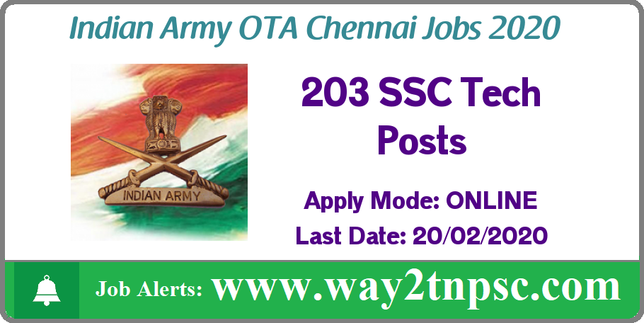 Indian Army OTA Chennai Recruitment 2020 for 203 SSC Tech Posts