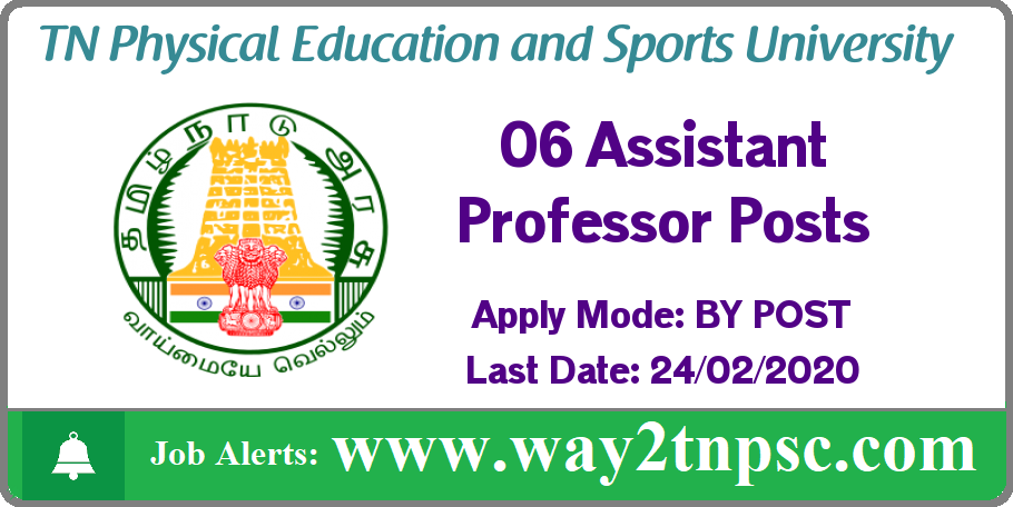 TNPESU Recruitment 2020 for 06 Assistant Professor Posts