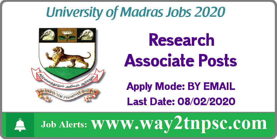 UNOM Madras University Recruitment 2020 for Research Associate Posts