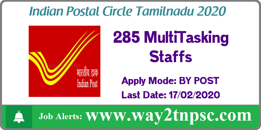 POST OFFICE TN Postal Circle Recruitment 2020 for 285 MTS Posts