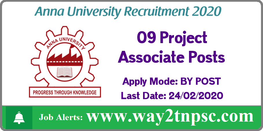 Anna University(AU) Recruitment 2020 for 09 Project Associate Posts