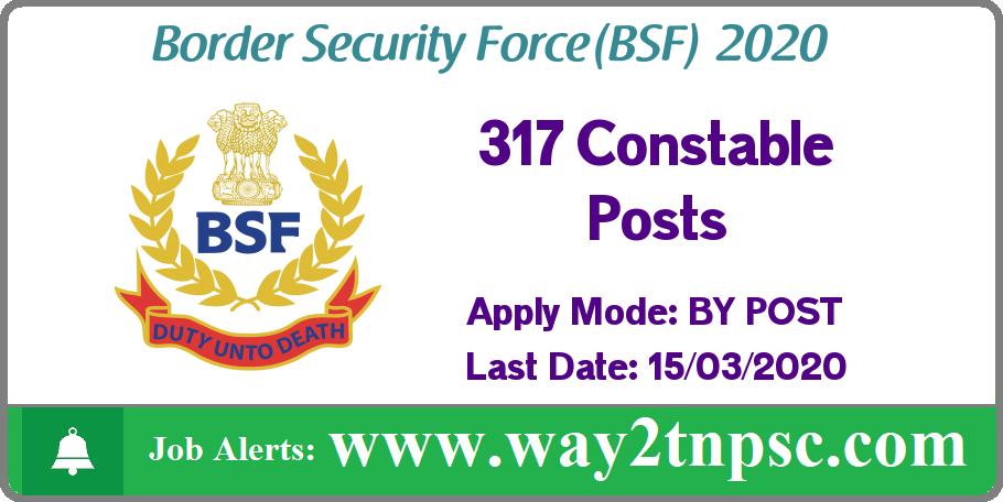 BSF Recruitment 2020 for 317 Constable Posts