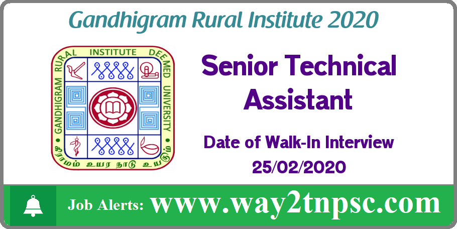 GRI Dindigul Recruitment 2020 for Senior Technical Assistant Posts