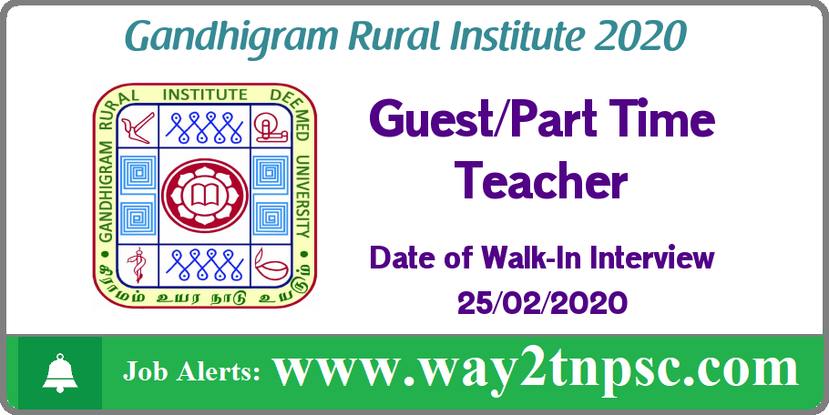 GRI Dindigul Recruitment 2020 for Guest/Part Time Teacher Posts
