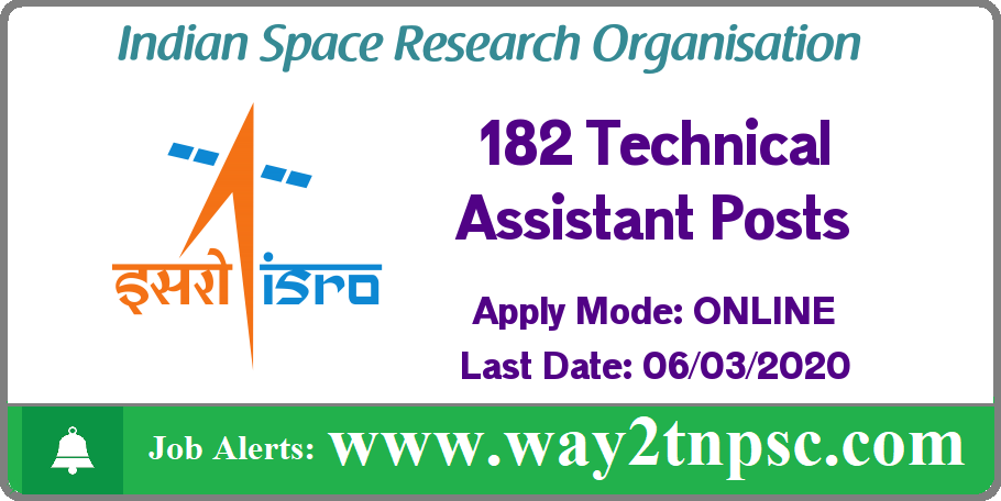 ISRO URSC Recruitment 2020 for 182 Technical Assistant Posts