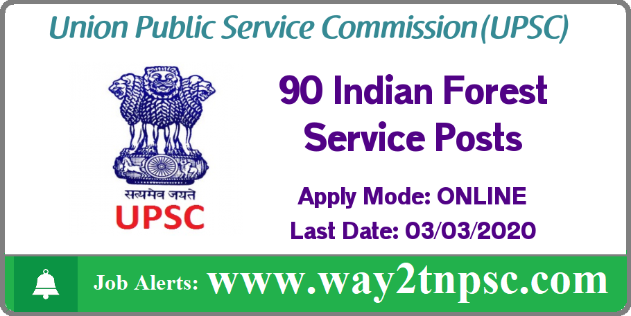 UPSC Recruitment 2020 for 90 Indian Forest Service Posts