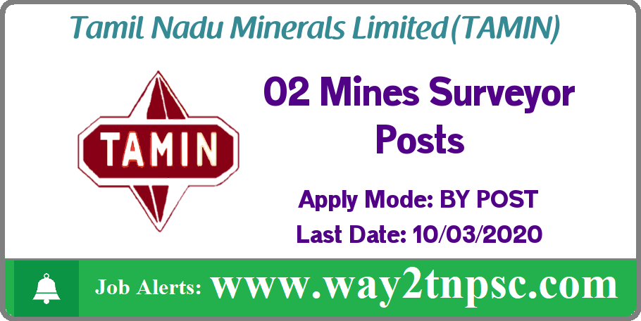 TAMIN Recruitment 2020 for 02 Mines Surveyor Posts