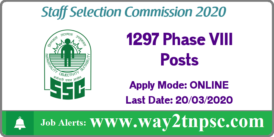 SSC Recruitment 2020 for 1297 Phase VIII Posts