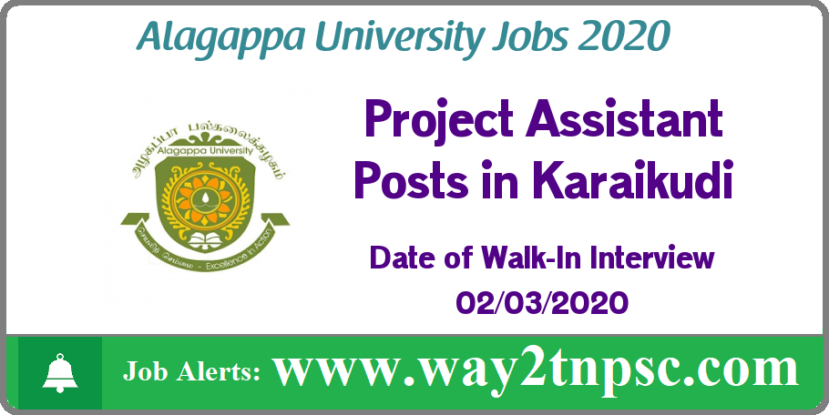 Alagappa University Recruitment 2020 for Project Assistant Posts