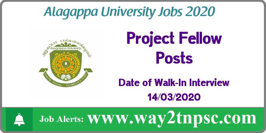 Alagappa University Recruitment 2020 for Project Fellow Posts