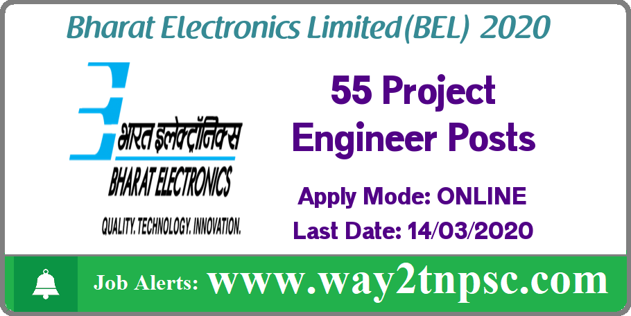 BEL Recruitment 2020 for 55 Project Engineer Posts