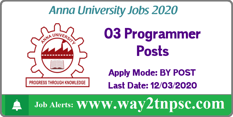 Anna University(AU) Recruitment 2020 for 03 Programmer Posts