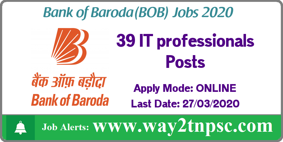 Bank of Baroda Recruitment 2020 for 39 IT professionals Posts