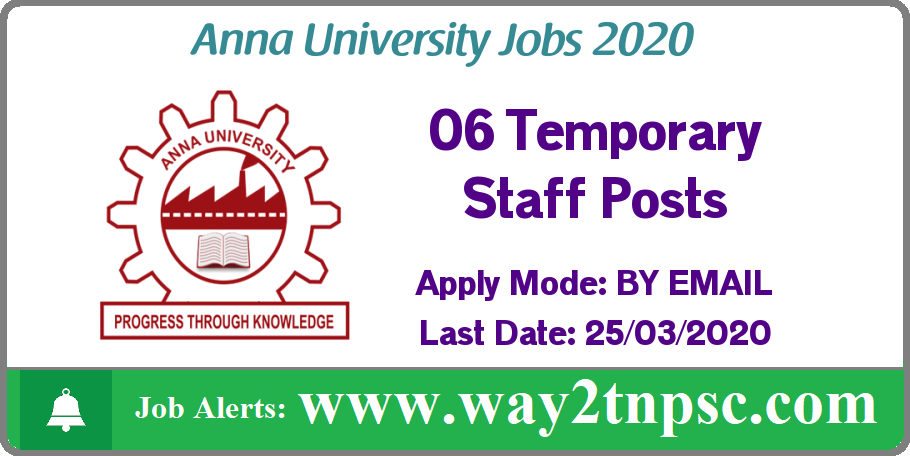Anna University(AU) Recruitment 2020 for 06 Temporary Staff Posts