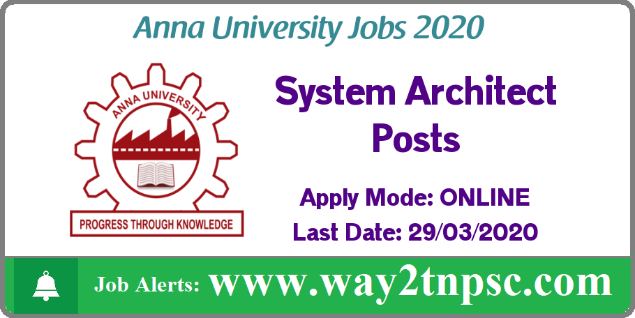 Anna University(AU) Recruitment 2020 for System Architect Posts