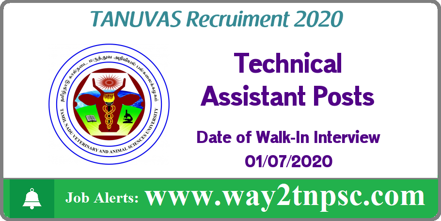 TANUVAS Recruitment 2020 for Technical Assistant Posts