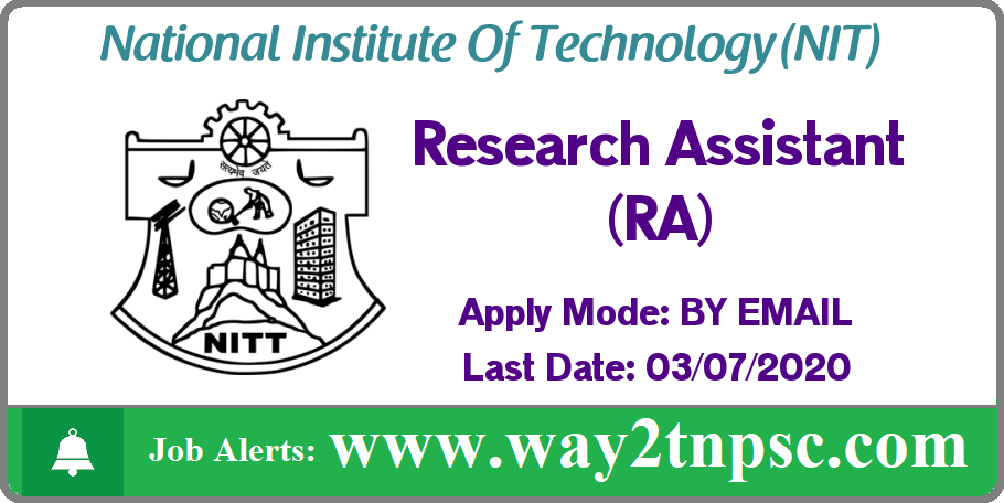 NIT Trichy Recruitment 2020 for Research Assistant (RA) Post