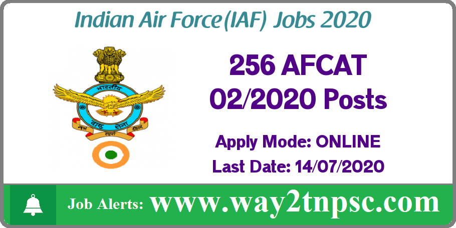 Indian Air Force Recruitment 2020 for 256 AFCAT 02/2020 Posts