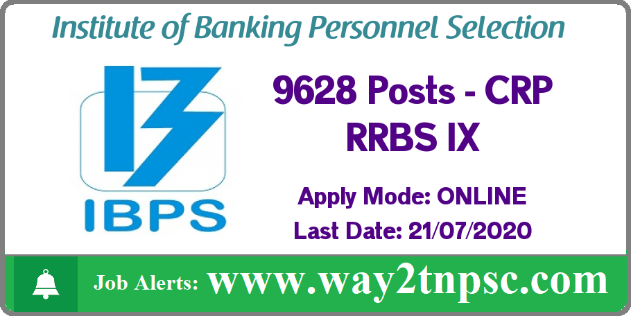 IBPS CRP RRBS IX Recruitment 2020 for 9628 Posts