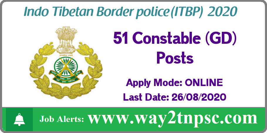 ITBP Recruitment 2020 for 51 Constable (GD) Posts
