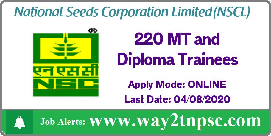 NSCL Recruitment 2020 for 220 MT and Diploma Trainee Posts