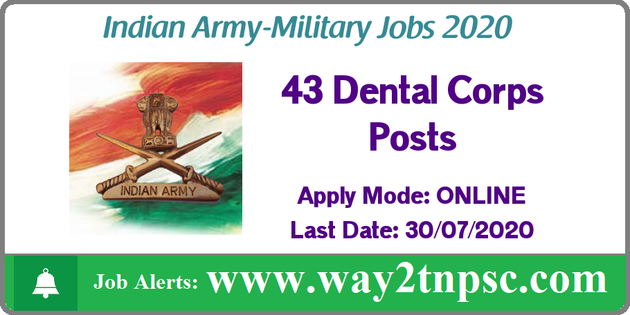 Indian Army Recruitment 2020 for 43 Dental Corps Posts