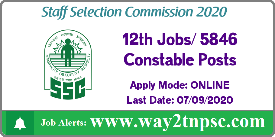 SSC Recruitment 2020 for 5846 Constable (Executive) Posts