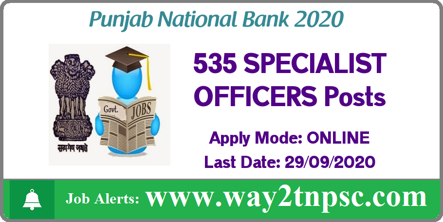 PNB Recruitment 2020 for 535 SO Posts