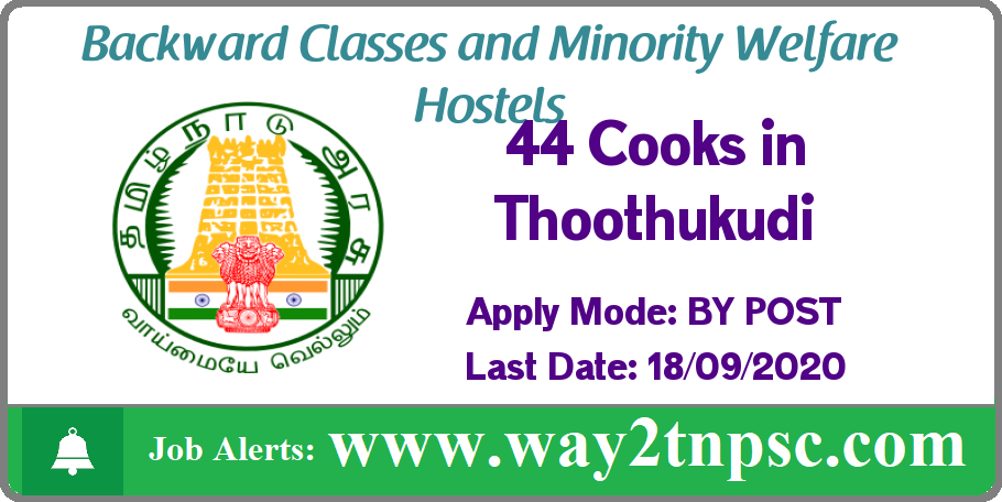 Thoothukudi DBCWO Recruitment 2020 for 44 Cook Posts
