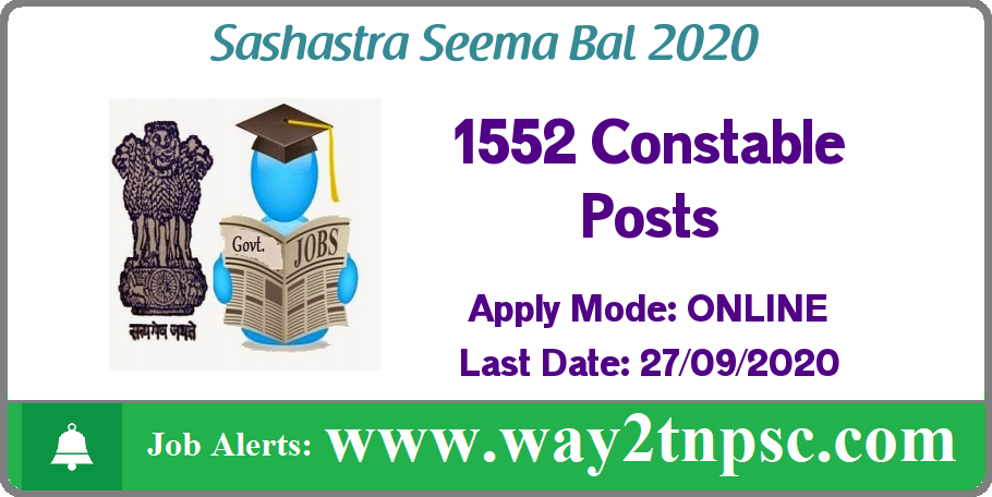 SSB Recruitment 2020 for 1552 Constable Posts