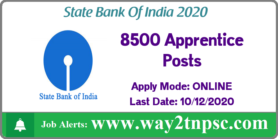 SBI Recruitment 2020 for 8500 Apprentice Posts