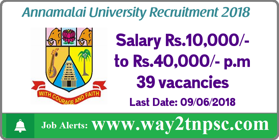 ANNAMALAI UNIVERSITY Job Recruitment 2018 | Apply online